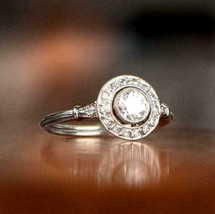 Vintage Engagement Ring 2.65Ct White Round VVS1 Halo Diamond in 14k Whit... - $262.20