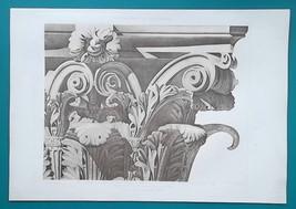 ROME Pantheon Portico Capital Detail - SUPERB 1905 Espouy Heliogravure P... - $29.70