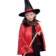 Kids Girl Children Witches Hat Vampire Cape Cloak Party Fancy Halloween ... - $7.43+