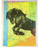 Art N Wordz Black Arabian Horse Original Atlas Sheet Pop Art Print Wall/... - $21.00