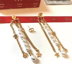 AUTH Christian Dior 2019 LE PRINTEMPS DE DIOR Multi Chain Long Dangle Earrings image 6