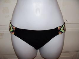 Xhilaration Black Bikini Swim Bottom W/Beads on the Side Size Small Wome... - $17.60