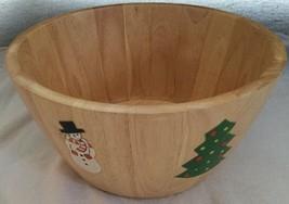 CLAY ART WOOD HANDPAINTED DEEP LARGE SALAD BOWL Christmas Trees & Snowme... - €15,53 EUR