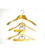 Vintage Wood Suit Hangers Wooden Pant Coat Jacket Natural Clamp - $22.27