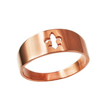 10K Polished Rose Gold Fleur De Lis Cut Out Ring Band - $109.99