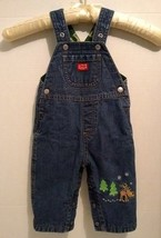 Old Navy Bib Overalls Baby 3-6 mo Denim Jean Fleece Lined Green Winter R... - $13.33