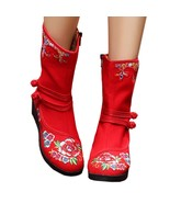Vintage Beijing Cloth Shoes Embroidered Boots red 35 - $37.99