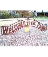 Metal Welcome to the FARM Sign Wall Entry Gate EXTRA LARGE 56 1/2 inch bz - $179.98