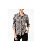 NY Collection Petite Medium Printed Paisley Button Down Utility Shirt Bl... - $14.84