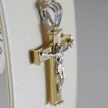 18K YELLOW WHITE GOLD CROSS WITH JESUS, STRIPED BRIGHT 1.34 INCHES MADE IN ITALY image 2