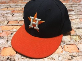New Era Houston Astros ROAD 59Fifty Fitted Hat (Navy/Orange) MLB Cap Men... - $16.82