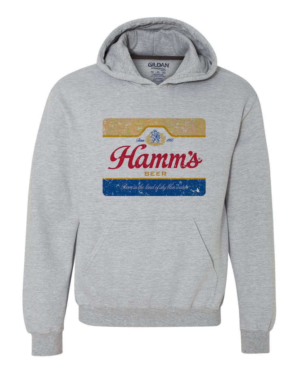 Hamm's Beer Hoodie retro vintage style distressed print grey graphic tee shirt
