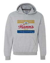 Hamm's Beer Hoodie retro vintage style distressed print grey graphic tee shirt image 1