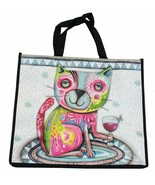 Kitty Cat and Glass of Wine Shopping Bag - $29.76