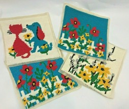 Needlepoint Canvas Dog Cat Mid Century Turquoise Red Flowers Kit Finished  - £38.18 GBP