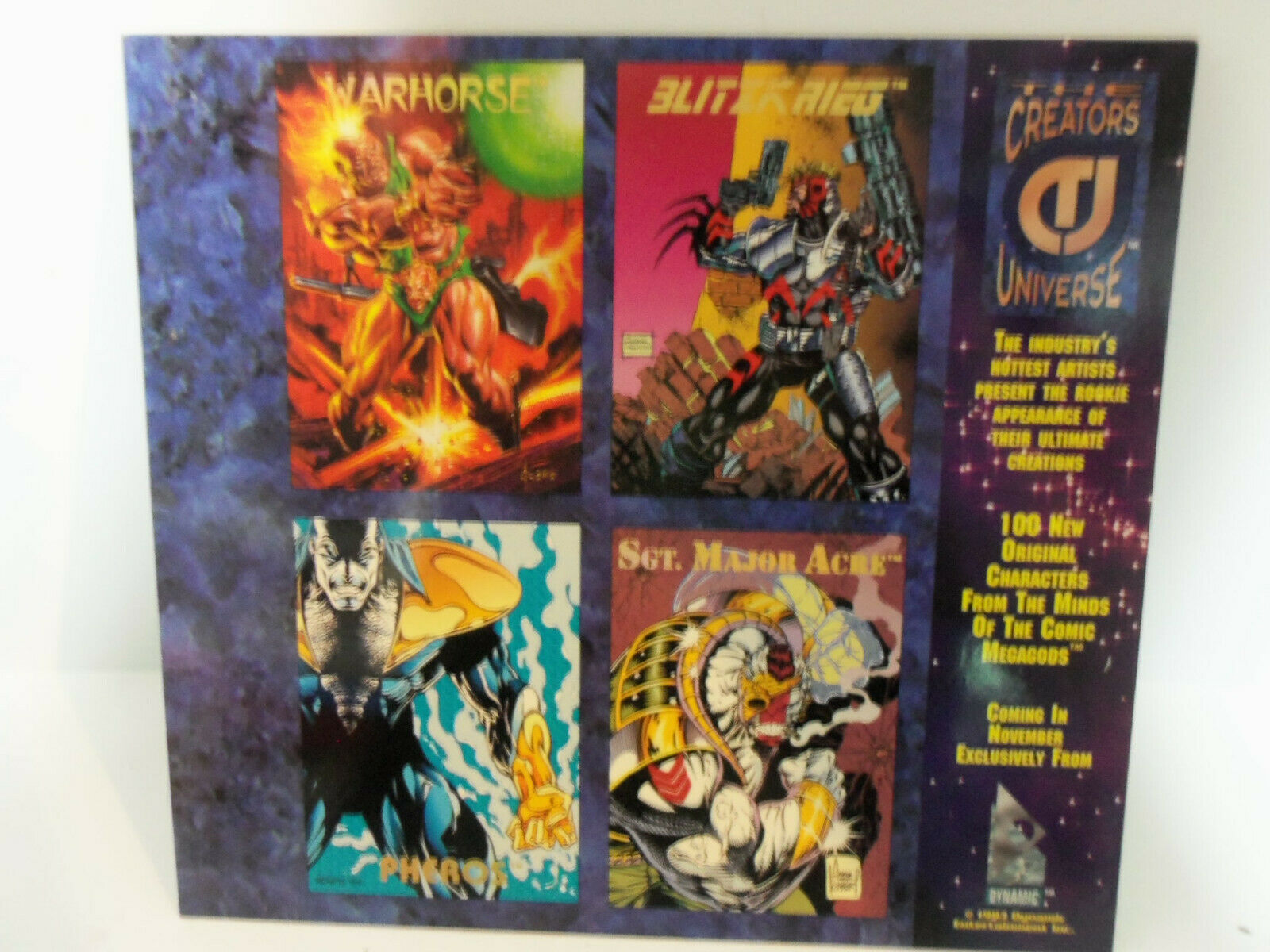 Vintage 1993 CREATOR'S UNIVERSE Uncut PROMO Cards Sheet Kubert Jusko Sears Nguye image 6