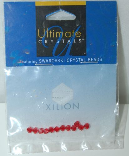 Ultimate Crystals Swarovski Light Siam Red Color Bicone Xilion Beads 12 Pieces