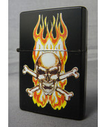 FLAMING SKULL WITH CROSSBONES BLACK REFILLABLE OIL CIGARETTE LIGHTER - $4.85