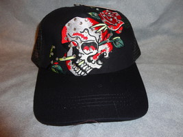Skull With Rose With Rhinstones Adjustable Baseball Cap Burdened New - $9.75