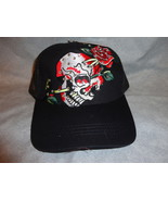 SKULL WITH ROSE WITH RHINSTONES ADJUSTABLE BASEBALL CAP BURDENED NEW - $9.75