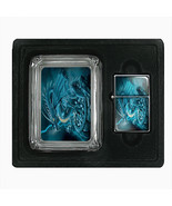 Glass Square Ashtray and Oil Lighter Gift Set Dragon Design-004 Custom M... - $8.61