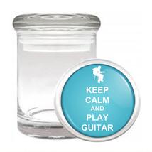 Odorless Air Tight Medical Glass Jar keep Calm and Play Guitar Design-011 - $12.95