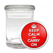 Odorless Air Tight Medical Glass Jar keep Calm and Carry On Design-009 - $12.95