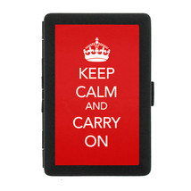 Black Metal Cigarette Case Holder Box Keep Calm and Carry On Design-014 - $5.48