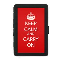 Black Metal Cigarette Case Holder Box Keep Calm and Carry On Design-014 - $5.48