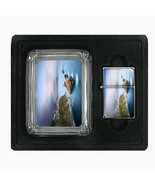 Glass Square Ashtray and Oil Lighter Gift Set Ocean Views Design-004 - $8.61