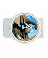 Money Bills Card Metal Holder Clip Round Elephant Design-007 Custom Wild... - $5.45