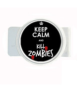 Money Bills Card Metal Holder Clip Round Keep Calm and Kill Zombies Desi... - $6.81