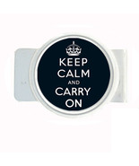 Money Bills Card Metal Holder Clip Round Keep Calm and Carry On Design-013 - $6.81