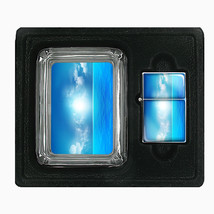 Glass Square Ashtray and Oil Lighter Gift Set Ocean Views Design-003 - $8.61