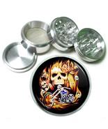 """63mm 2.5"""" 4 Pc Aluminum Sifter Magnetic Herb Grinder Skull Design-014 - $9.75"""