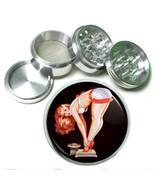 "63mm 2.5"" 4 Pc Aluminum Sifter Magnetic Herb Grinder Pin Up Girl Design-004 - $9.75"