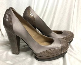 BCBG MAXAZRIA SHOES brown gray satin close Platform heel Pumps: 9/39 - $28.04