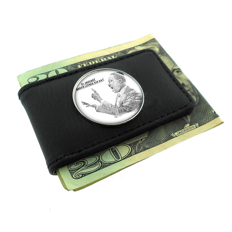 Primary image for Black Money Clip Wallet Leather Magnet Martin Luther King Jr Design-003