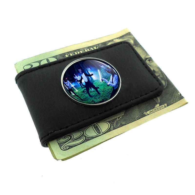 Primary image for Black Money Clip Wallet Leather Magnet What does the Fox Say Design-007