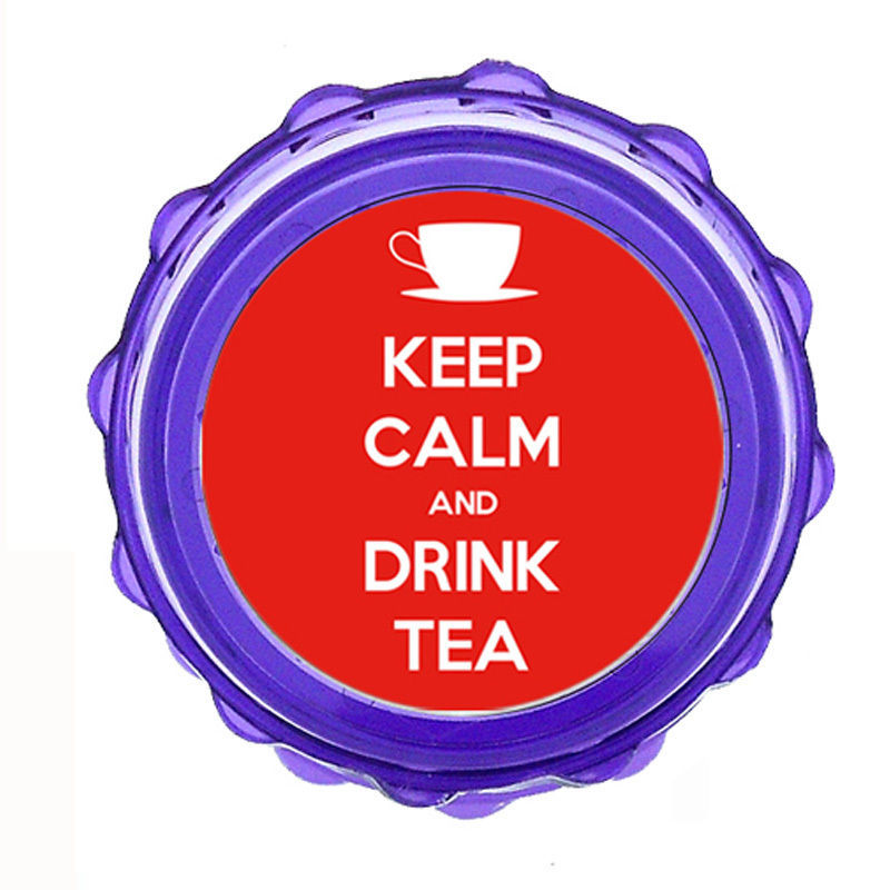 "Primary image for 2.5"" Sharp Shark Tooth Acrylic Grinder Keep Calm and Drink Tea Design-018"