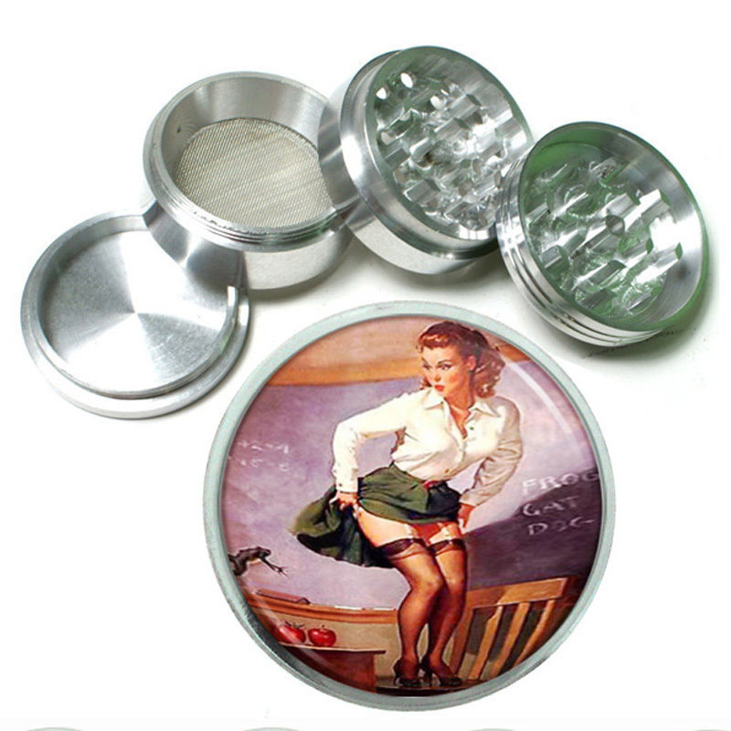 "Primary image for 63mm 2.5"" 4 Pc Aluminum Sifter Magnetic Herb Grinder Pin Up Girl Design-013"