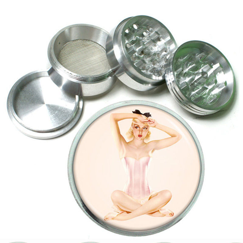 "Primary image for 63mm 2.5"" 4 Pc Aluminum Sifter Magnetic Herb Grinder Pin Up Girl Design-001"