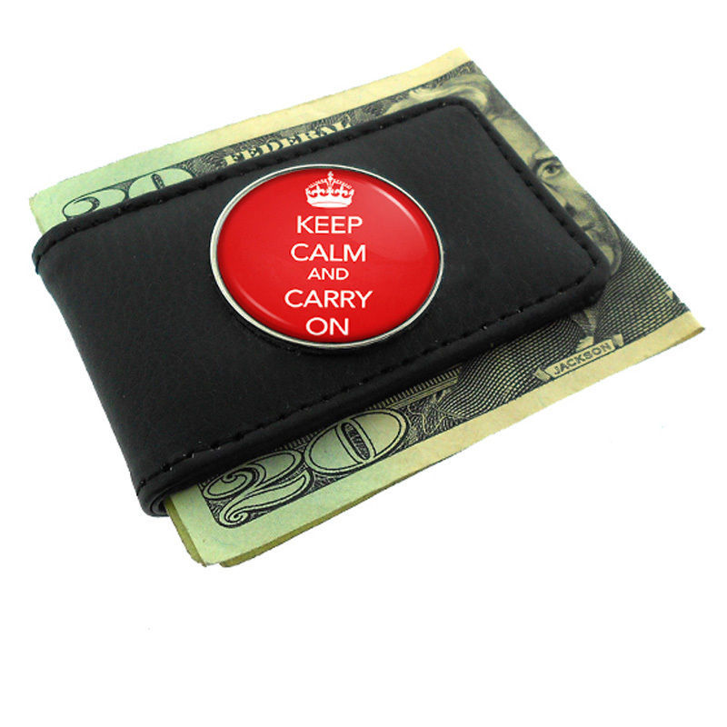 Primary image for Black Money Clip Wallet Leather Magnet Keep Calm and Carry On Design-014