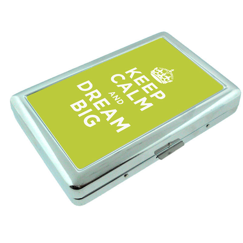 Primary image for Metal Silver Cigarette Case Holder Box keep Calm and Dream Big Design-001