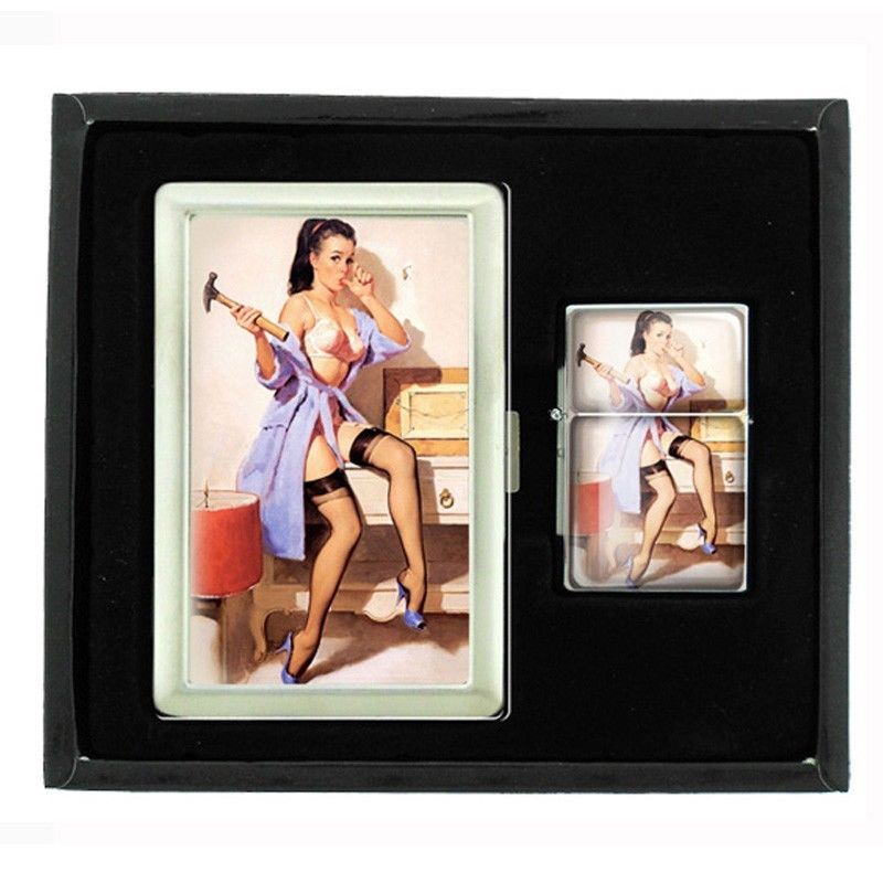 Primary image for Metal Cigarette Case and Oil Lighter Gift Set Pin Up Girl Design-020