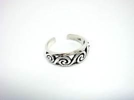 925 Sterling Silver Surf Wave Oxidized Adjustable Toe Ring - $11.12