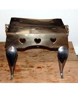 English Victorian Antique Brass Steel Heart Pierced Footman Trivet - $575.00