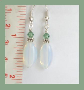 Oval Moonstone & Swarovski Crystal Earrings