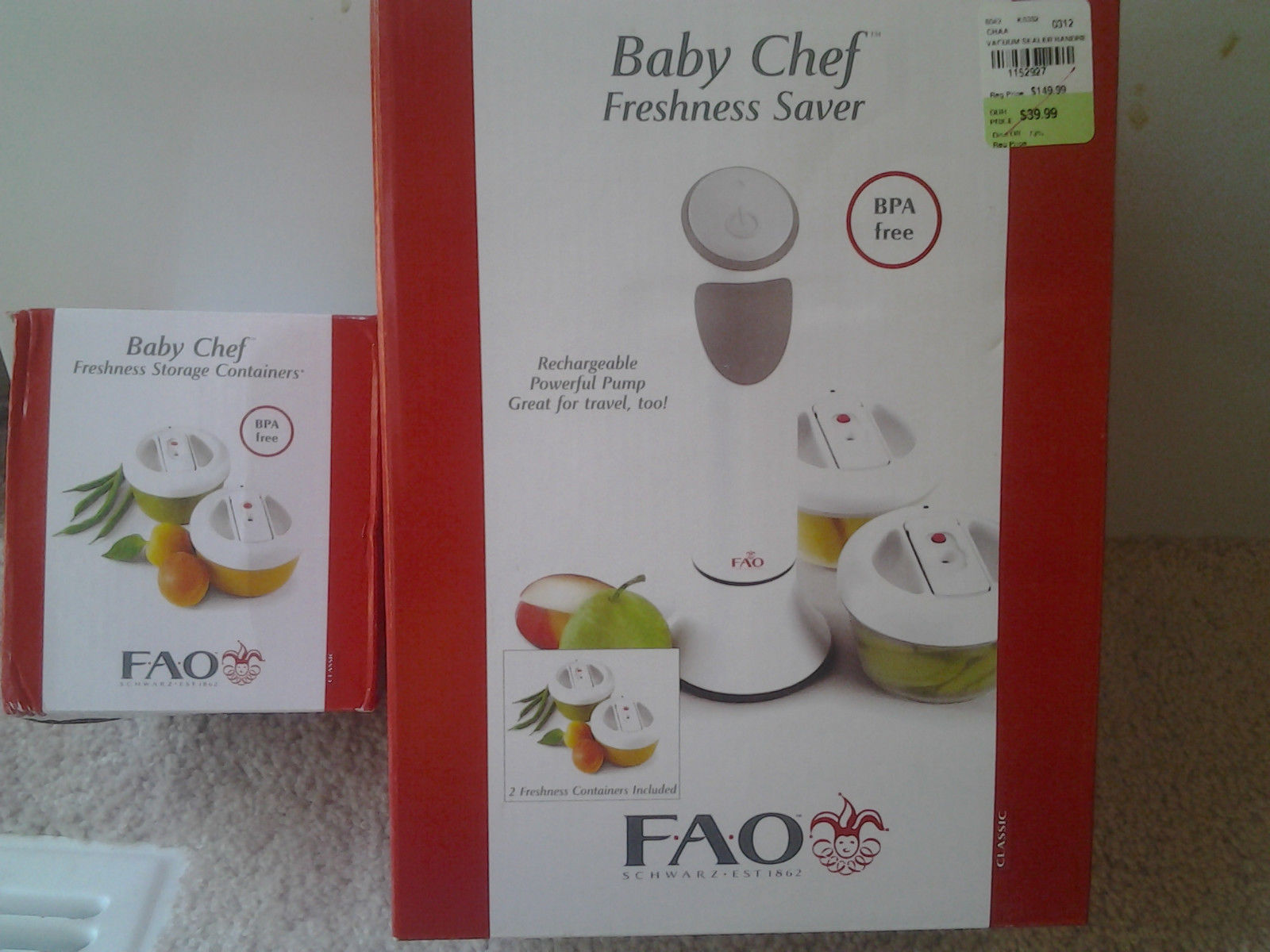 Primary image for FAO Schwarz Baby Chef Freshness Saver with 4 containers BPA Free Vacuum Lock New