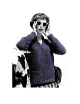 1950s V Neck Pullover Sweater with Pockets - Knit pattern (PDF 0854) - $3.75